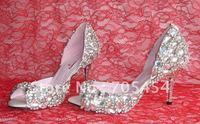 BS280 free shipping designer 2012 custom make sexy peep toe white crystal summer bridal wedding shoes