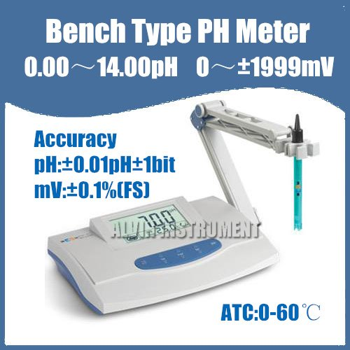 Free Shipping Lab Bench PH Meter Tester (0.00~14.00)pH Accuracy:+-0.01pH(China (Mainland))