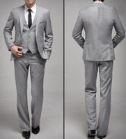 Freeshipping Light grey Buisness suits Fashion jacket mens trousers Men's suits Single-breasted