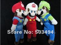 Retail 1PCS Free Shipping Plush Super Mario Cute Make Up Pencil Case Bag Full Body Mario ,Fire Mario ,Luigi Case