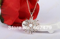 1PCS/lot  Free Shipping 18K Gold Plated Wholesale Fashion Jewelry Use Crystal 18K GP Sunflower Pendant Necklace Gift N140