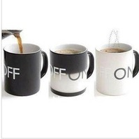 free shipping 5pcs Glacier ON OFF Color Changing Mug Magical Chameleon Coffee Cup Temperature Sensing Novelty Gift