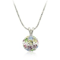 1PCS/lot  Free Shipping Hot Sale 18K White Gold Plated Crystal Colorful Ball Necklace 18K GP Trendy Women's Jewelry