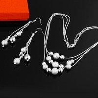 Ювелирный набор S0159 Fashion 925 Silver Jewelry Earrings Necklace Set
