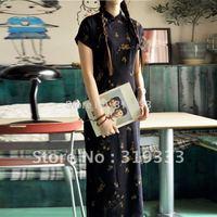new long qipao dress slim waist fluid linen cheongsam-old time, five size, CPAM