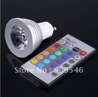 85~265V 3W LED RGB GU10 E27  Light Bulb Lamp +24key controller +free shipping by DHL