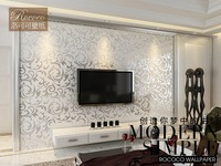 hot saling flocking wallpaper  TV backdrop
