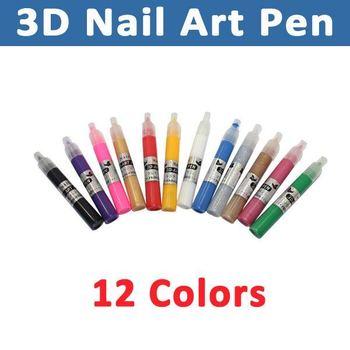 Free Shipping 12pcs/set 12 Colors Nail Art Pen for 3D Nail Art DIY Decoration/3D DESIGN PAINT PEN