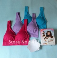 90pcs/lot=30 boxes(3pcs/box) EMS to AU/NZ/JP etc FreeShipping colored Genie Bra  with removal cushion pads