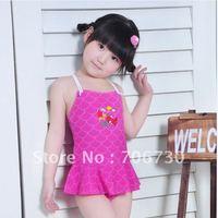 2012 (10Pcs/Lot) Free Shipping Wholesale High Quality Children's/Kids SwimmSuit,Sweet Girls Mermaid Cartoon One Piece Swimwear