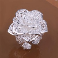 Fashion Jewelry 925 Silver Flower Ring R116