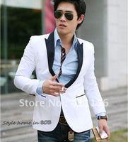 New Stylish Men Casual Slim fit One Button Suit Pop Blazer Coat Jacket White free shopping 3490
