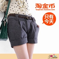 Hot-selling 2013 female fashion shorts all-match roll up hem woolen boot cut jeans