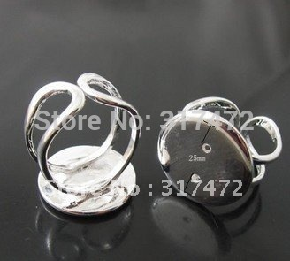 """$15 off per $150 order"" Top hot 25mm Blank Tray adjustable finger ring findings ( good quanlity)(China (Mainland))"