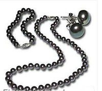 Free shipping Romantic Bride Jewelry set Fashion Set 7-8mm Black Freshwater Pearl Necklace Bracelet Earring  Christmas gifts