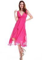 New Lady Women's Summer Wear V-Open Nipped-Waist Longuette Dress