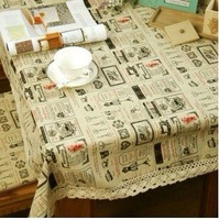 Cream square tablecloths 140*140cm cotton linen  DJZB0029 cafes decoration  free  parcel post