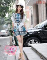 Free Shipping HOT New Fashion Dress Ethnic Bat Sleeves Dress 0173