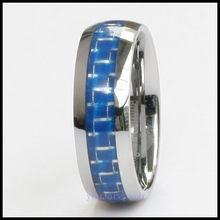 10pcs MEN'S TUNGSTEN RING WEDDING BAND BLUE CARBON FIBER 8MM SIZE 8# 9# 10# 11# 12#  + GIFT BOX