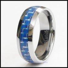 10pcs MEN S TUNGSTEN RING WEDDING BAND BLUE CARBON FIBER 8MM SIZE 8 9 10 11