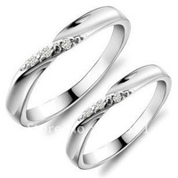 2013 women Free shipping wedding season  925 sterling silver anniversary couple ring white stone lover ring platinum plated