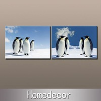2pcs/set large animal Friendship of penguin wall art modern painting prints on canvas printing for home/bedroom decoration gfts