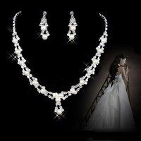 A005  Neckace earrings set Elegant Rhinestone Crystal    Wedding Bride Party  O-QYX112-11