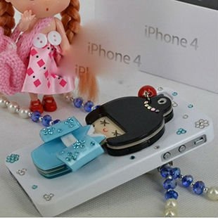 Free Shipping Fantastic Kimono Doll Hard Case For iPhone4&iPhone 4s With Various Colors Mirror Back Design
