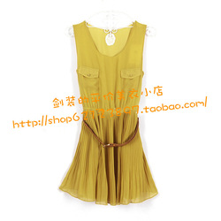 2012 hot-selling five plus 5 pleated sleeveless vest chiffon one-piece dress belt(China (Mainland))
