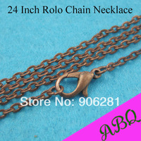 24 inch (60cm) Antique Copper Rolo chain necklace with Lboster Clasp Connected