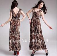New Lady Women's Summer Wear Double V-Open Nipped-Waist Leopard Longuette Dress