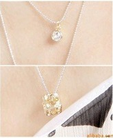 Free shipping elegant crystal and cube pendant necklace,as gift and promotion