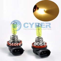 2 X H8 Amber / Yellow 35W Car Fog Light Xenon Gas Halogen 12V Lamp Bulbs 3000~3500K free shipping(China (Mainland))