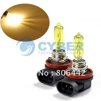 2 X H9 Amber / Yellow 65W Car Fog Lamps Xenon Gas Halogen 12V Lamp Light Bulbs 3000~3500K free shippping