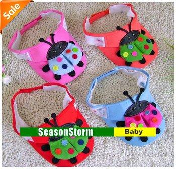 [CPA Free Shipping] Wholesale Cute Kids 3D Little Lady Beetles Sun Hat  / Cotton Empty Cap 20pcs/lot  (SY-65)