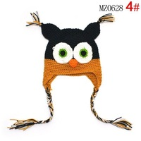 Free Shipping Cartoon Designs 100% Handmade Children Crochet Hats Various Animal Styles Baby Owl Beanie hat Kids Flower Caps