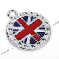 15pcs Hot Sale Charms Alloy Round England Flag Enamel Pendants Fit  Fashion Jewelry DIY Bead Necklace 141337