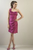 Free Shipping!one-shoulder flowers satin knee-length satin asymmentric 2013  bridesmaid dress
