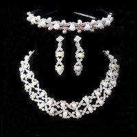 A018-3 Crown Tiara Neckace earrings set Elegant Rhinestone Crystal     O-Q-TZ027-27