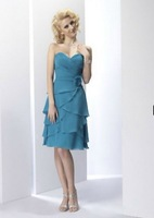 2013 New Arrival! Free Shipping!sweet neckline chiffon tiered asymmentric knee-length blue custom-made short Bridesmaid Dresses
