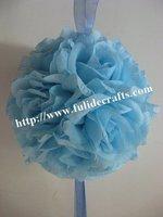 30cm Ocean blue foam center artificial kissing wedding decoration flowers ball