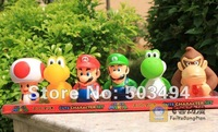 Super mario bros 6pcs figure dolls Mario ,Yoshi ,luigi ,toad ,koopa,donkey Kong Action Figures 7CM  Free shipping Retail 1 SET