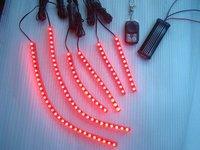 6 pcs Red led flexible motorcycle engine light kit