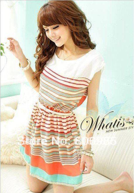 2012-New-Colorful-Stripes-Mini-Dress-Fre
