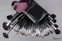 New Make up 32pcs/set silver brushes with number + free leather Pouch +free makeup bag