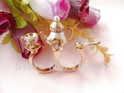 New! 10pcs/Lot NEW Retro crystal Wine pot of cup spoon Tea set DOUBLE RING free shipping(China (Mainland))