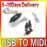 Free Shipping 5pc/lot Novelty USB To MIDI Keyboard Music Converter Cable Converter PC to Adapter Musical Instrument Accessories