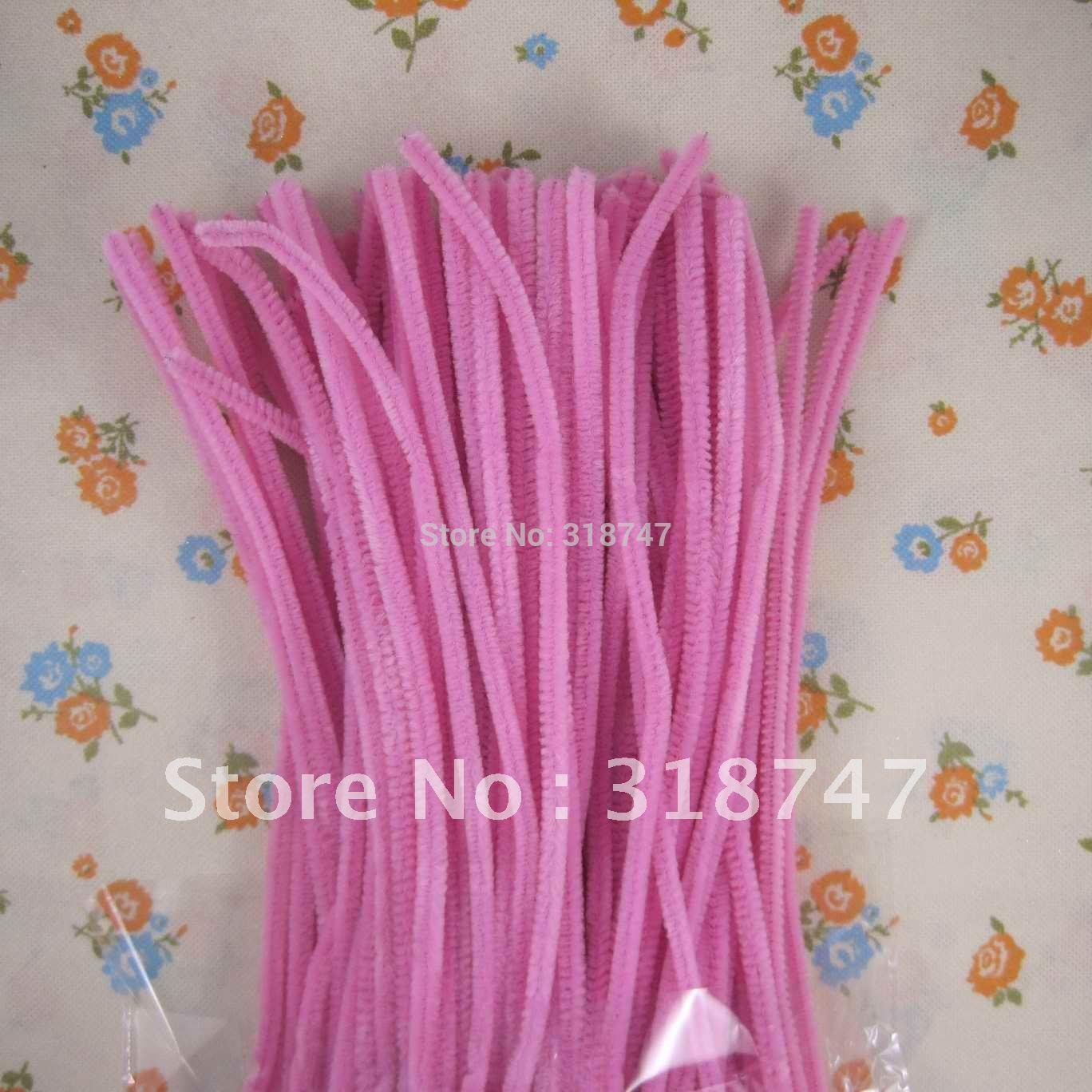 50pcs/pack pink Chenille Stems Pipe Cleaners Handmade Diy Art &Craft Material kids Creativity handicraft toys(China (Mainland))