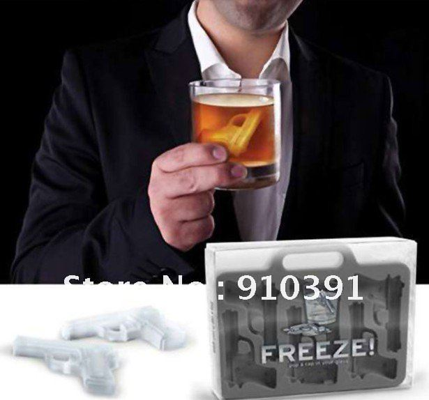 Free Shipping/EMS,DIY color pistol/gun ice cube mold,ice tray maker as bar drinking for relieve summer heat,summer cool supply(China (Mainland))