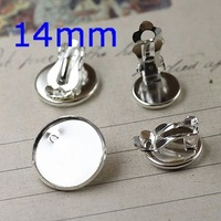 Inner:14mm Silver Plated Brass Copper Circle Blank Tray Bases Clip Hook Cameo CAB Diy Jewelry Earrings Findings Settings